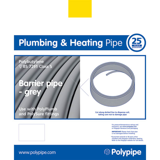 Polypipe PolyPlumb Barrier Pipe 50m x 15mm Grey