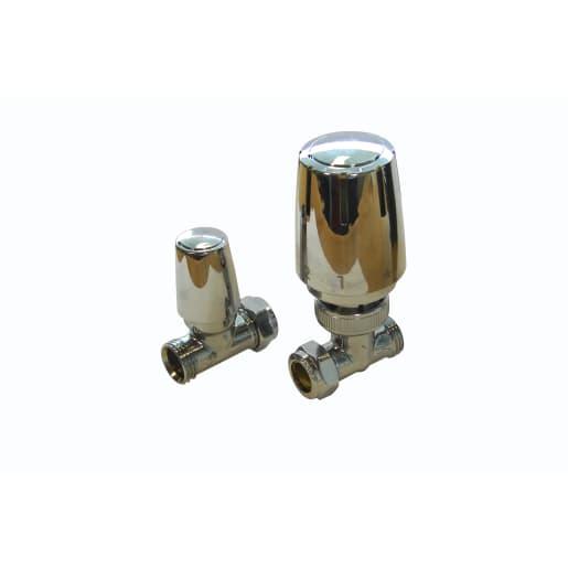 Altech Straight Thermostatic Radiator Valves 15mm Dia Pack of 2 Chrome