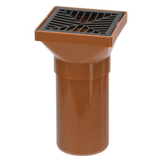 Polypipe Drain Square Hopper Spigot End with Grid 110mm Brown
