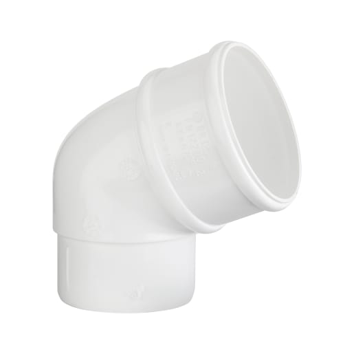 Polypipe 112.5° Bend Round Downpipe 68mm Offset White
