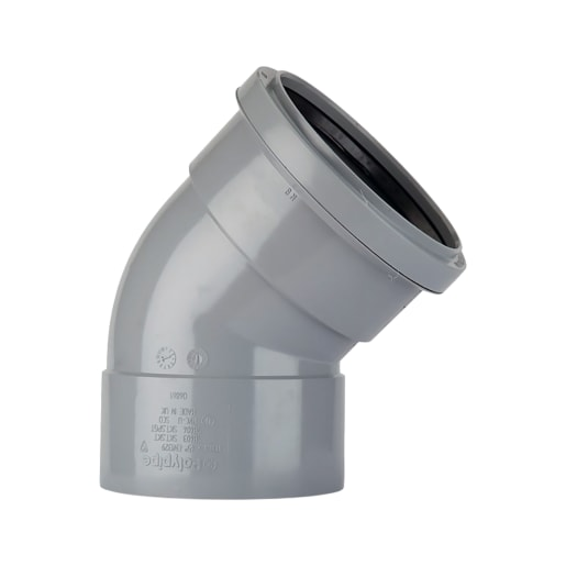 Polypipe Soil 135° Double Socket Bend 110mm Grey