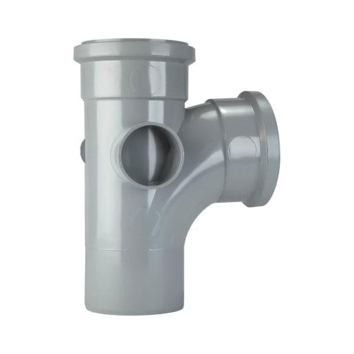 Polypipe Soil 92.5° Double Socket 2 Boss 110mm Grey
