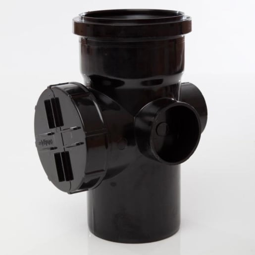 Polypipe Ring Seal Soil Single Socket Access Pipe 110mm Black