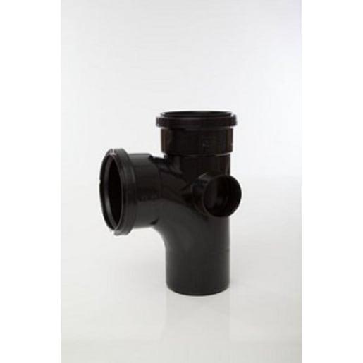 Polypipe Soil 92.5° Double Socket 2 Boss 110mm Black