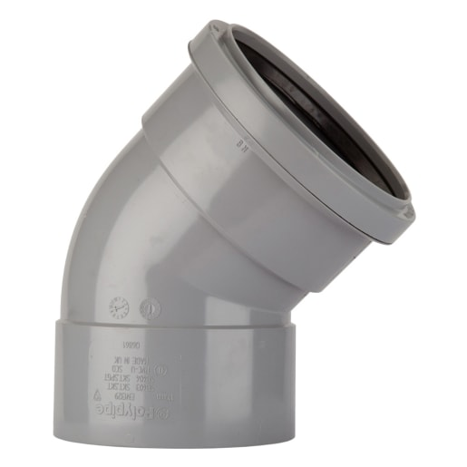 Polypipe Soil 92.5° Double Socket Bend 110mm Grey