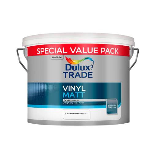 Dulux Trade Vinyl Matt Paint 7.5L Pure Brilliant White