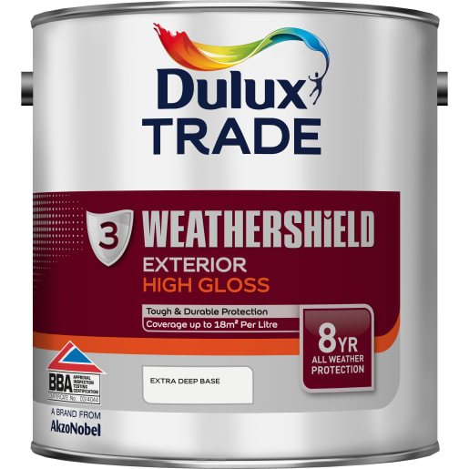 Dulux Trade Weathershield Exterior Gloss Paint 2.5L Extra Deep Base