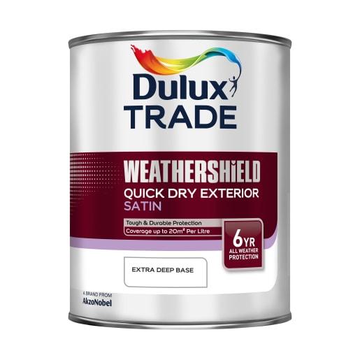 Dulux Trade Weathershield Exterior Satin Paint 1L Extra Deep Base