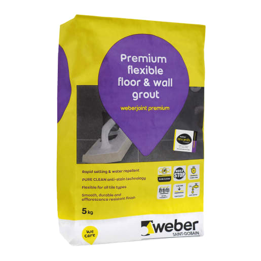 Weberjoint Premium Flexible Wall and Floor Tile Grout 5kg White