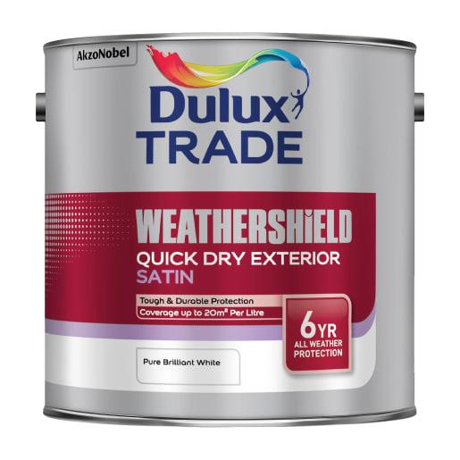 Dulux Trade Weathershield Exterior Satin Paint 2.5L Brilliant White