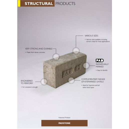 Supreme Concrete PAD07 Padstone 440 x 140 x 215mm