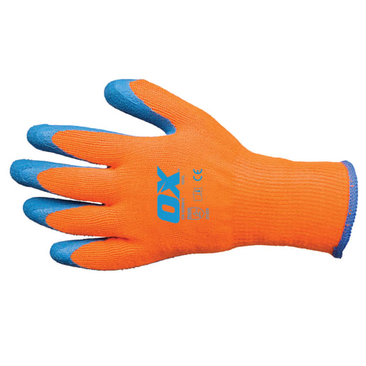 Ox Thermal Grip Gloves Size 9 (Large) Orange / Blue