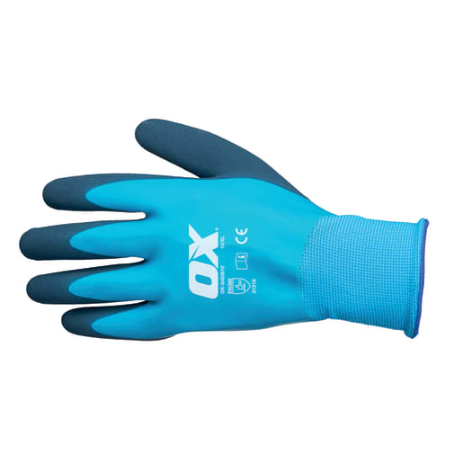 Ox Waterproof Latex Gloves Size 9 (Large) Navy/Blue