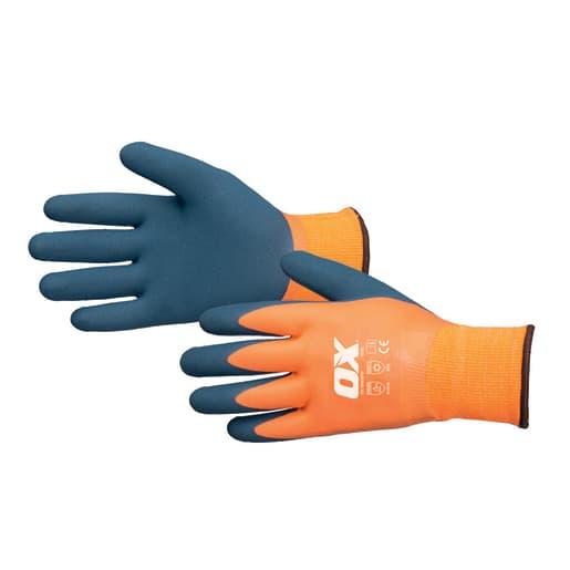 Ox Waterproof Thermal Latex Gloves Size 10 (X-Large) Navy/Orange