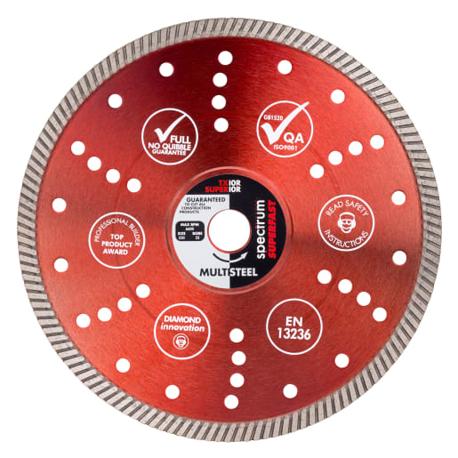 Ox Spectrum Superfast Pro Multi Steel Diamond Blade 230 x 22.2mm Red