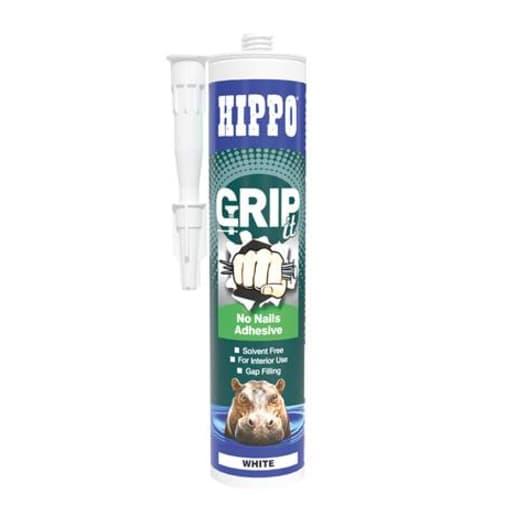 Hippo GRIPit No Nails Adhesive 310ml White Pack of 6