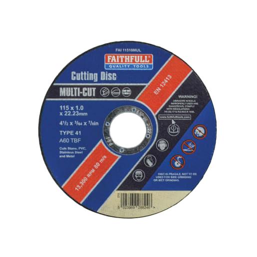 Faithfull Multi Purpose Cutting Disc 1 x 115mm Pack of 10