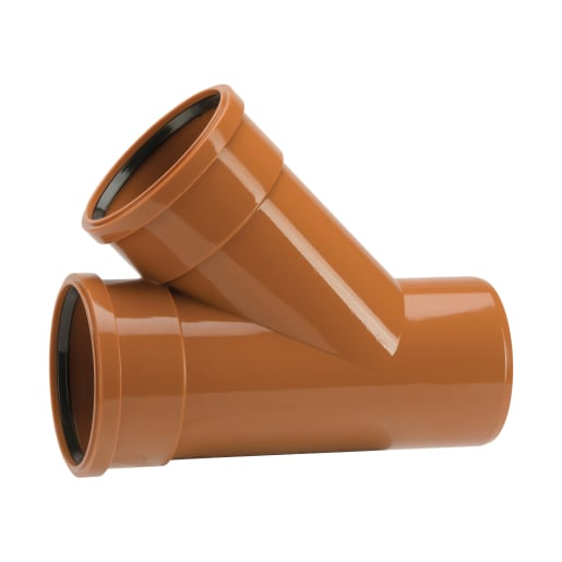 Polypipe Drain 45° Bend Double Socket Junction 110mm Brown