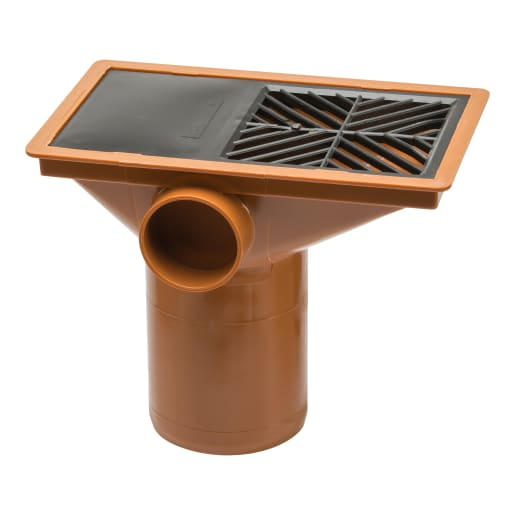 Polypipe Drain Square Hopper with Grid 110mm Terracotta