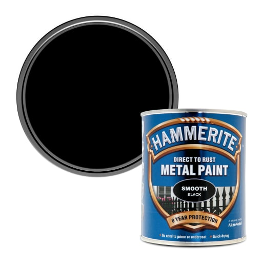Hammerite Direct to Rust Metal Smooth Finish Paint 750ml Black