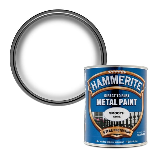Hammerite Direct to Rust Metal Smooth Finish Paint 750ml White