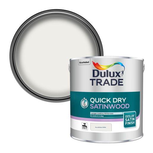 Dulux Trade Quick Dry Satinwood Paint 2.5L Pure Brilliant White