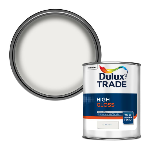 Dulux Trade High Gloss Paint 1.0L Pure Brilliant White